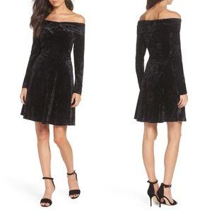 CHELSEA28 Off Shoulder Velvet Fit & Flare DRESS